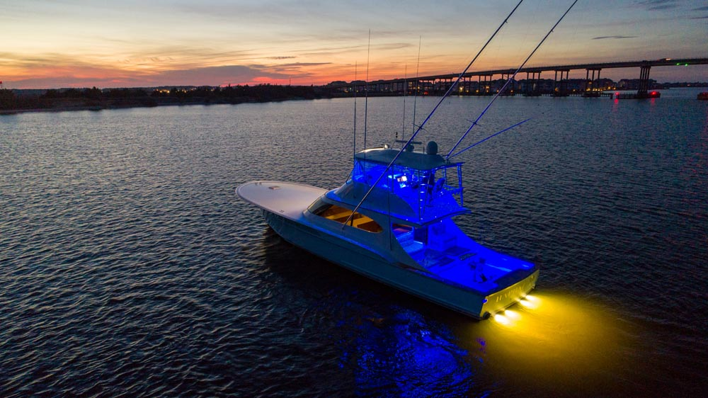 Haphazard Charter Fishing on the Outer Banks lit up on a beautiful night